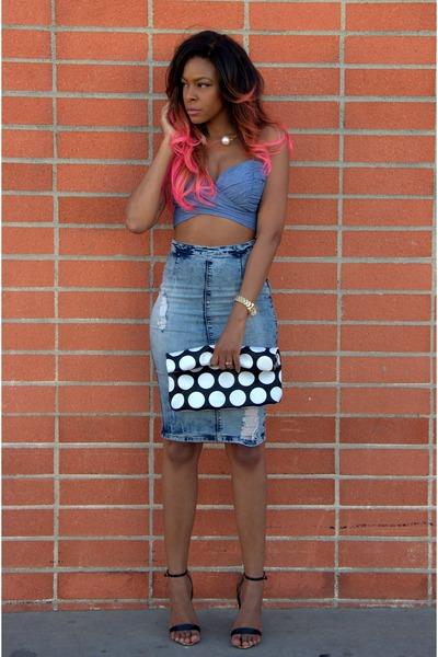 black clutch Front Row Shop bag - blue pencil skirt Ebay skirt