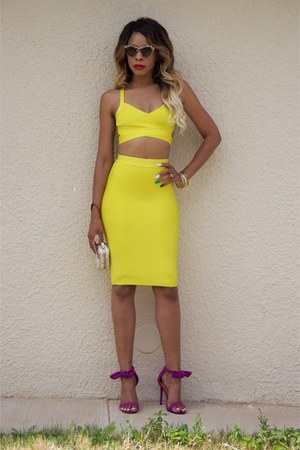 yellow bandage Bottle Blonde dress - black cat eye asos sunglasses
