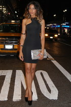 black bodycon cut out H&M dress - silver snakeskin H&M bag