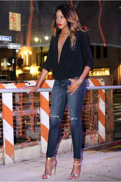 plunging Zara blouse - skinny shopakira jeans - snakeskin Steve Madden heels