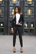 cream ruffled Zara blouse - black cropped Sugarlips jacket