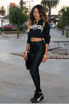 black fringe Nasty Gal bag - black cropped dimepiece sweatshirt