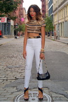 beaded Zara top - high waisted Nasty Gal jeans - leather YSL bag