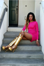 gold gladiator zigi girl boots - hot pink bodycon Missguided dress