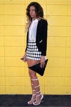 black tuxedo Sugarlips blazer - white sheer Solemio shirt