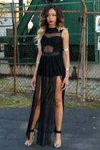 black sheer shopakira romper - black clear Jeffrey Campbell heels