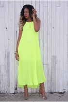 yellow maxi Nasty Gal dress - gold strappy Steve Madden heels