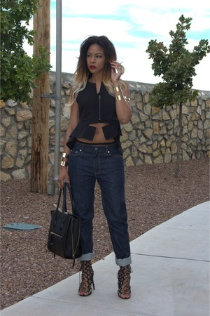 black structured Aldo bag - navy mens BLK DMN jeans - black peplum Nasty Gal top