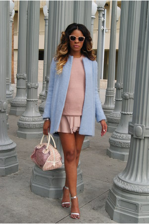 light blue mohair Zara coat - light pink plastic Forever 21 sunglasses