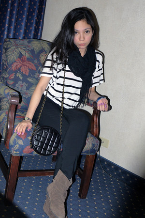 brown Forever 21 boots - off white H&M shirt - black Forever 21 scarf - black Ch