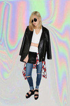 blue diy cut-up Articles of Society jeans - black platform Yes sandals