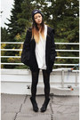 Black-faux-horse-hair-choies-boots-navy-knit-lifetime-collective-hat