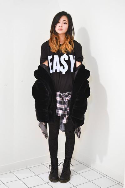 black mens easy money clothing t-shirt - black faux fur Choies jacket
