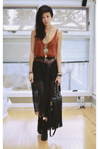 black sheer chiffon Sheinside skirt