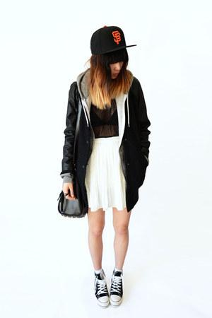 black studded yeswalker bag - white Chicwish skirt