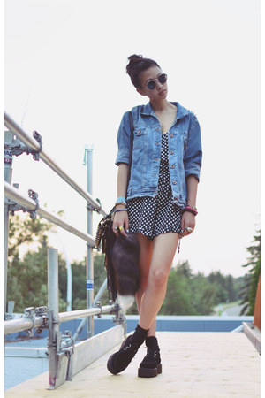 sky blue diy studded thrifted jacket - black Sheinside shoes