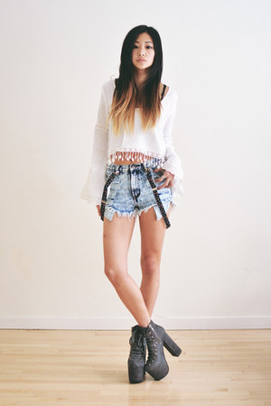 silver UNIF shoes - sky blue denim beginning boutique shorts