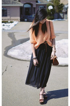 light orange knit Queens Wardrobe sweater - black maxi Sheinside skirt
