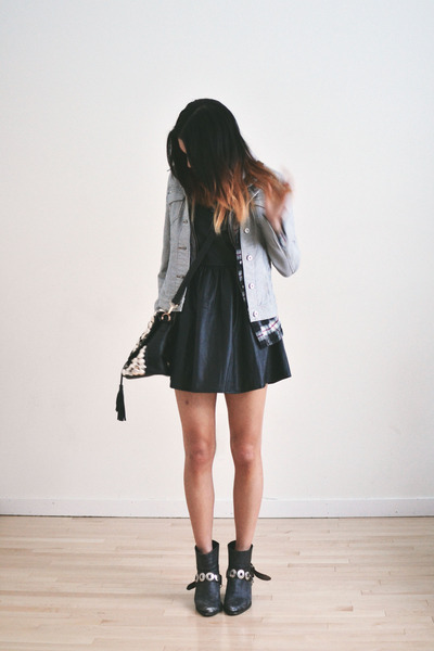 black romwe dress - gray plaid 2020AVE jacket - black romwe bag