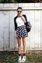 white Forever 21 shirt - black Chicwish bag - white tarte sunglasses