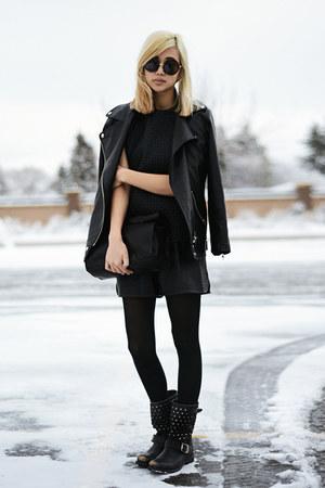 black Frye boots - black textured Topshop top