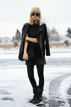 black Frye boots - black textured Topshop top