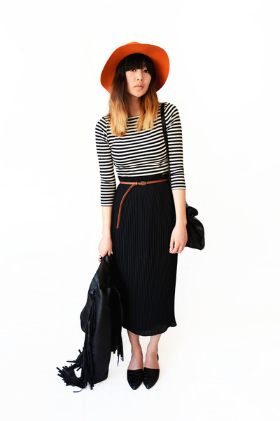 black fringe Sheinside jacket - white striped Sheinside dress