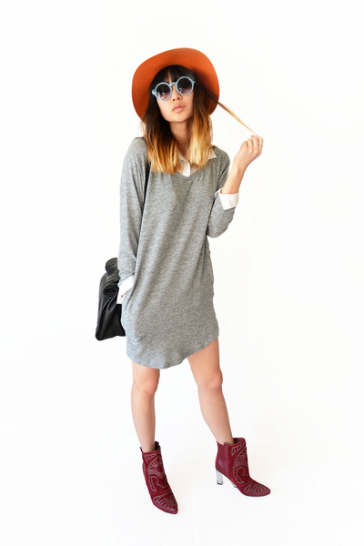 brick red Choies boots - heather gray Olive Clothing dress