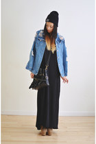 sky blue Choies jacket - gray tank Rag and Bone dress