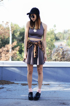 charcoal gray Koshka skirt - black Capezio shoes - gold FEMMEX necklace