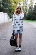 Chicwish shoes - Forever 21 dress - The orphans arms sweater - Beara Beara bag