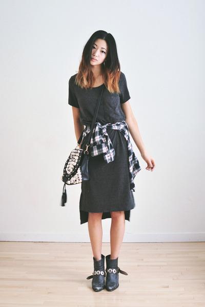 black bucket romwe bag - heather gray OAK  FORT dress