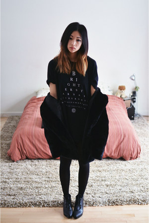black Choies boots - black faux fur Choies jacket