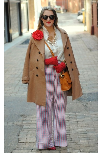 red vintage pants - camel H&M coat - mustard vintage Coach bag