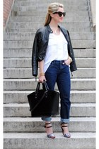 black Max Studio jacket - navy Loft jeans - black Zara bag - white Gracia top
