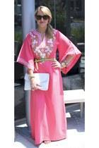 bubble gum kimono maxi vintage dress - white clutch vintage purse - chartreuse s