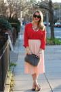 Black-house-of-harlow-1960-sunglasses-gray-ann-taylor-bag-red-loft-blouse