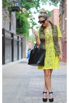 yellow asos dress - olive green Old Navy vest