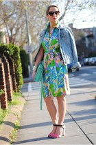 sky blue vintage jacket - light blue vintage dress - aquamarine asos bag