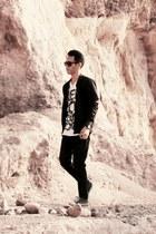 black jeans - black FAMO jacket - white t-shirt