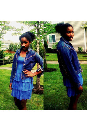 blue H&M dress - blue Vintage from my mom jacket