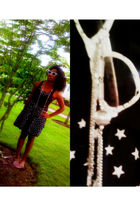 black H&M dress - white Drugstore glasses sunglasses
