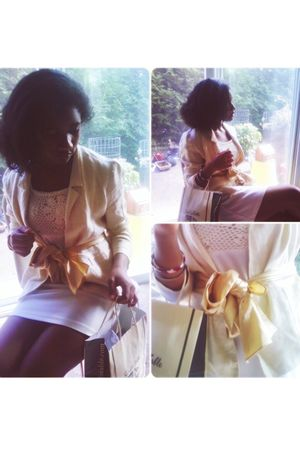 beige vintage blazer - white thrifted dress - gold unknown scarf - pink My frien