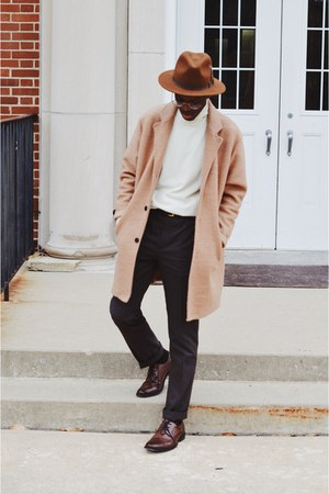 Uniqlo top - brown Apt 9 shoes - Bailey Hats hat - brown asos pants