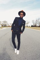 rustic wool Baileys Of Hollywood hat - navy asos jacket - navy H&M sweater