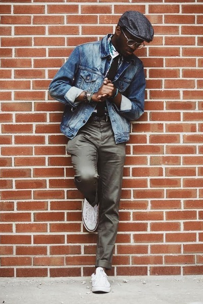 paperboy cap Old Navy hat - jean Levis jacket - tropical print H&M shirt