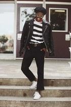 leather jacket asos jacket - black beret asos hat