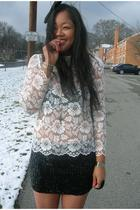 black bra - white blouse - black skirt - silver necklace - black accessories
