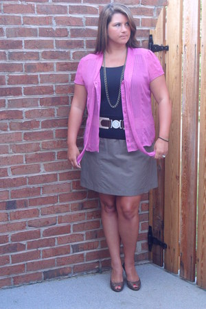 borrowed shirt - JC Penny belt - Cole Haan heels - Forever 21 skirt - Etsy neckl