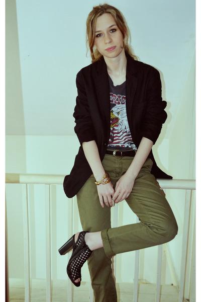 bf blazer - Topshop t-shirt - Zara pants - Urban Outfitters heels